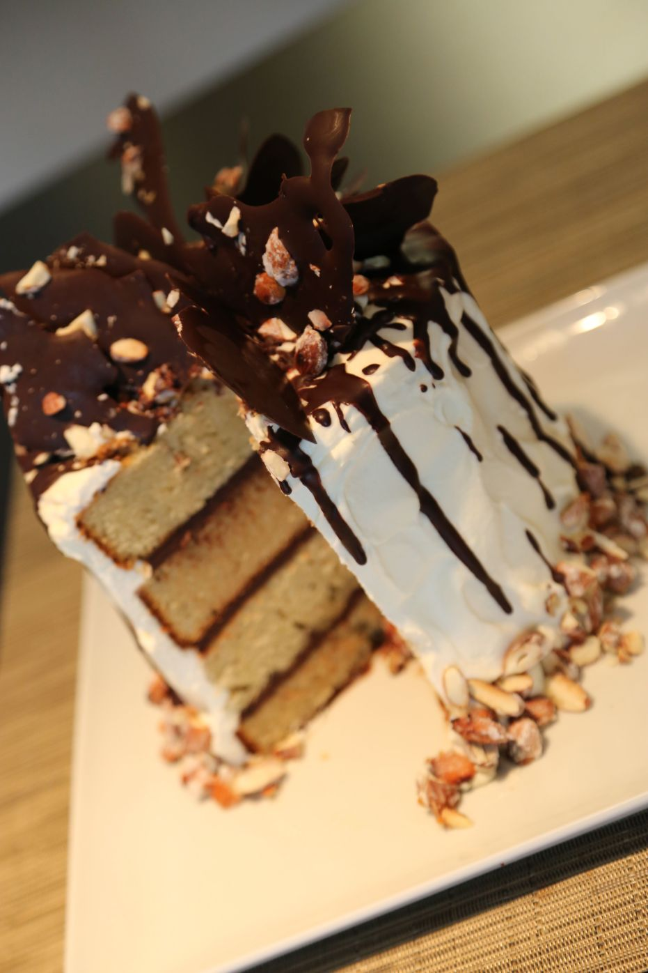 Almond Praline Cake With Mascarpone Frosting And Chocolate