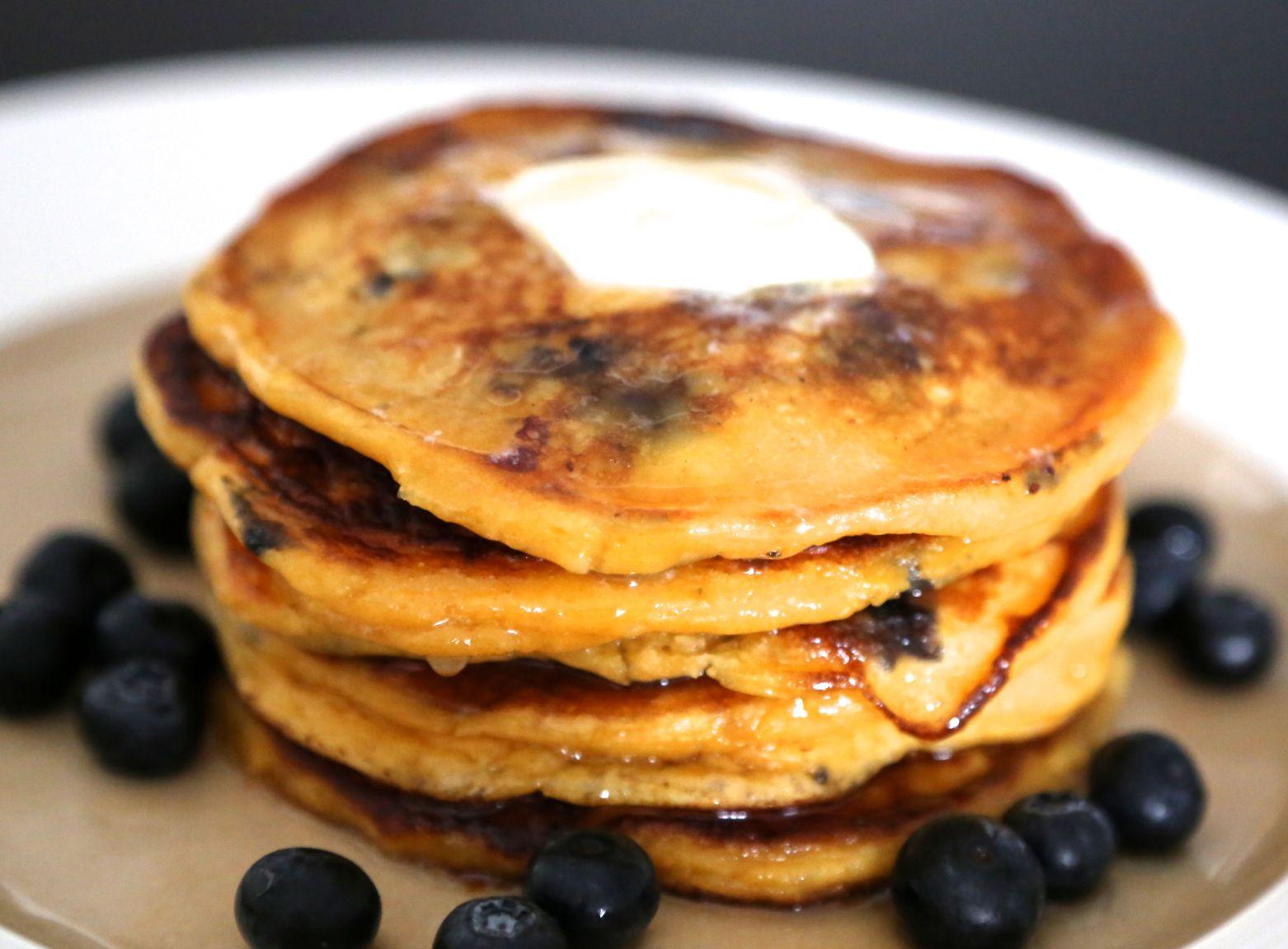 Sweet Potato and Blueberry Pancakes