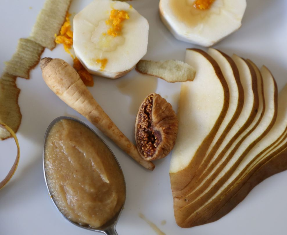 Parsnip, Pear and Fig Purée