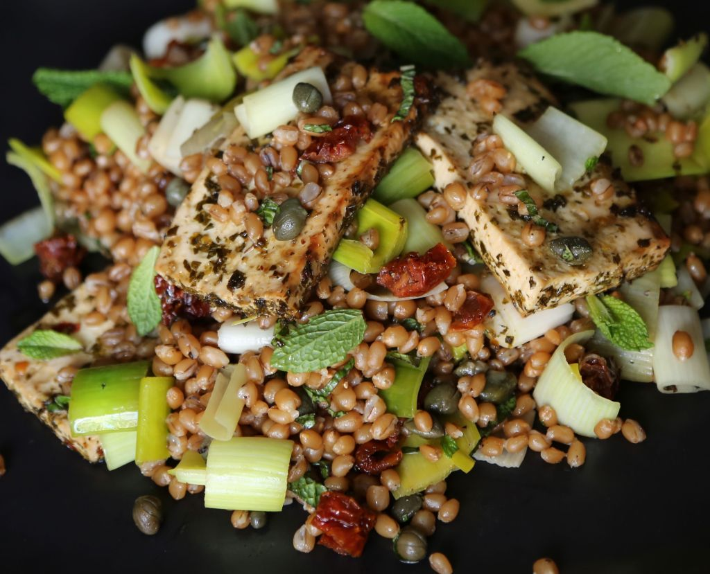 Leek Salad with Tofu and Wheat Berries