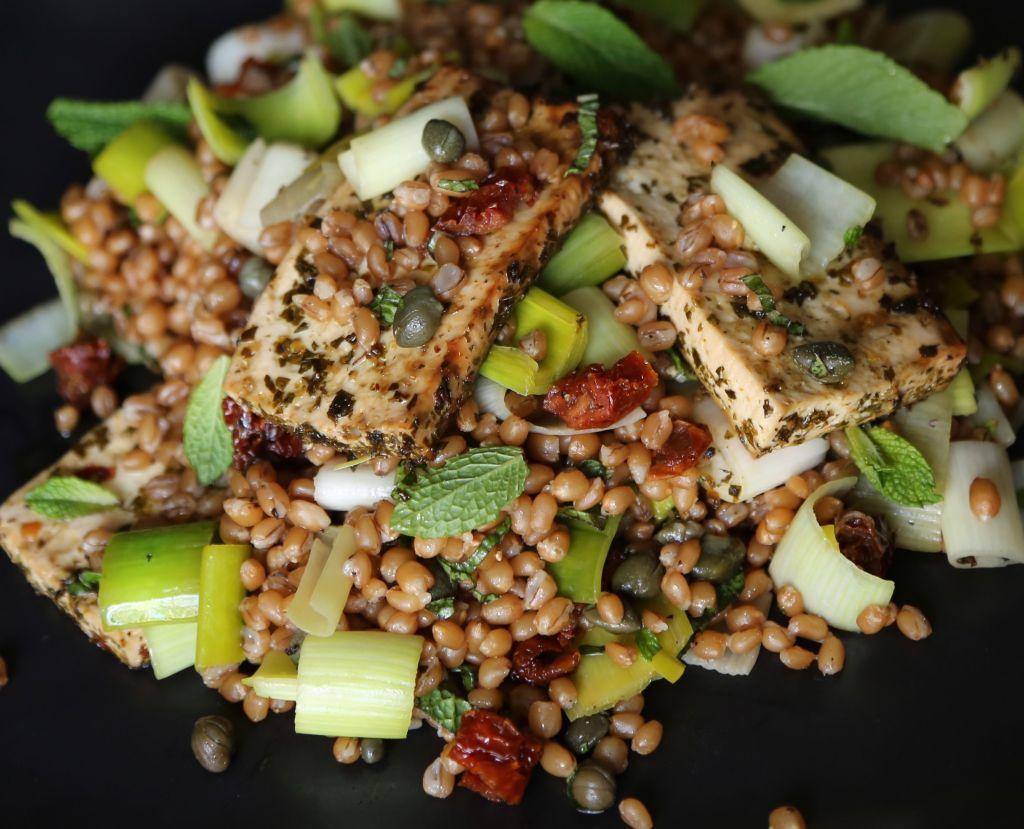 Leek Salad with Tofu and Wheat Berries