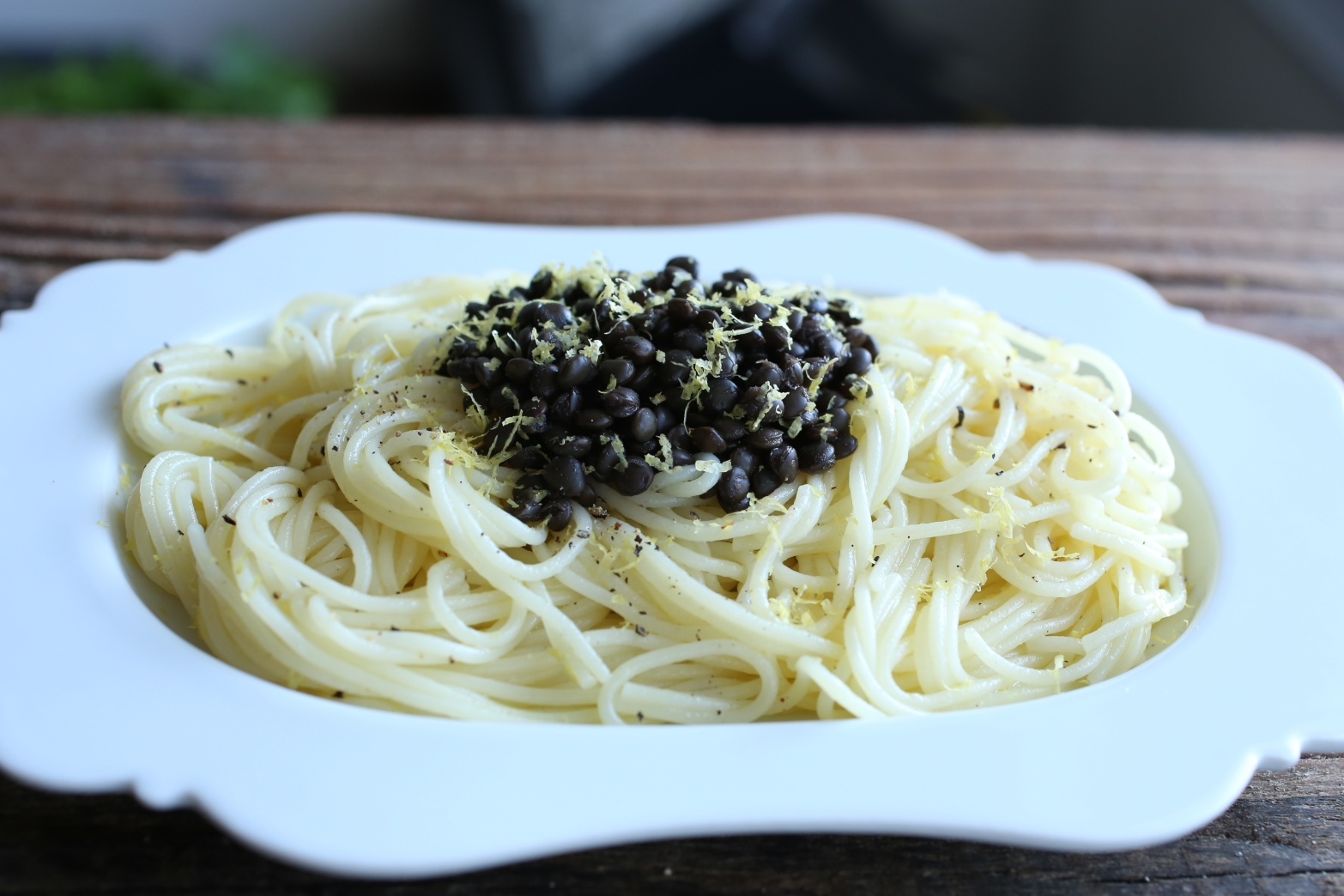Lemon Capellini with Black Lentils