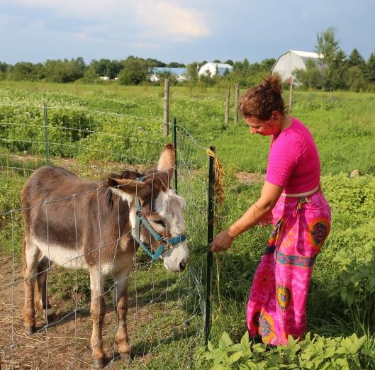 Caroline and donkey