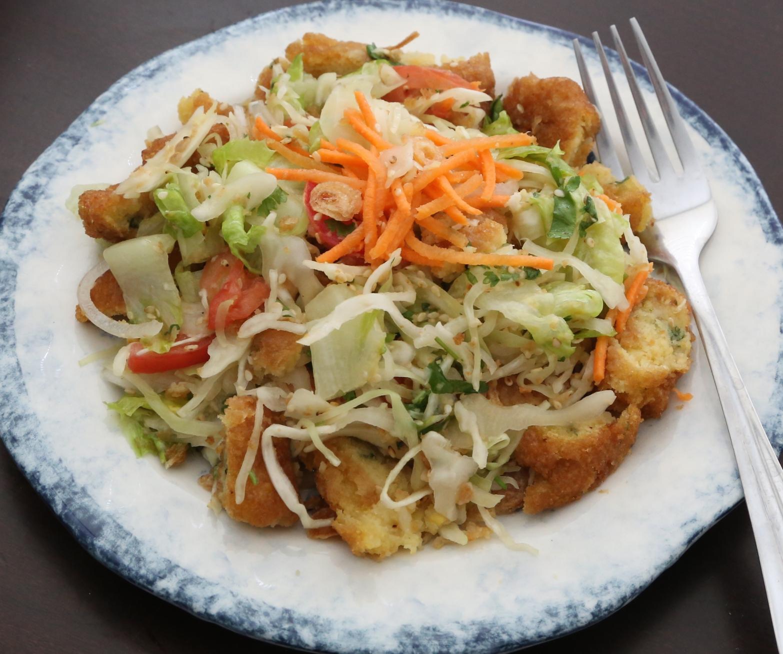 Baya Gyaw Thoke  Gram Fritter Salad
