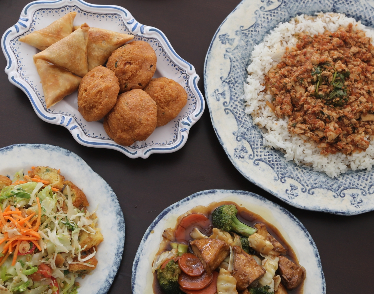 A medley of a few tasty vegetarian dishes at Mandalay Restaurant