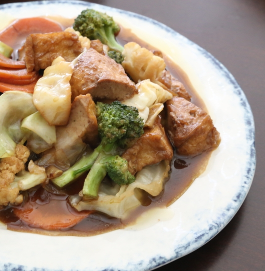 A Sane Gyaw Broccoli, cauliflower, carrots and cabbage sautéed with a light brown sauce