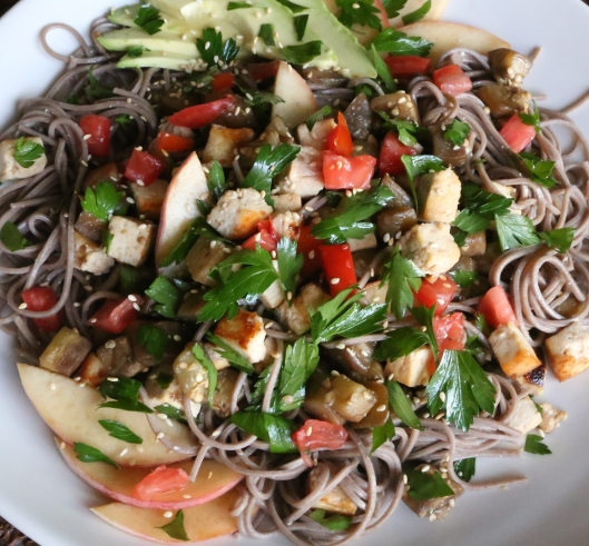 Petit World Citizen: Soba Noodles with Aubergine, Tofu and Peaches