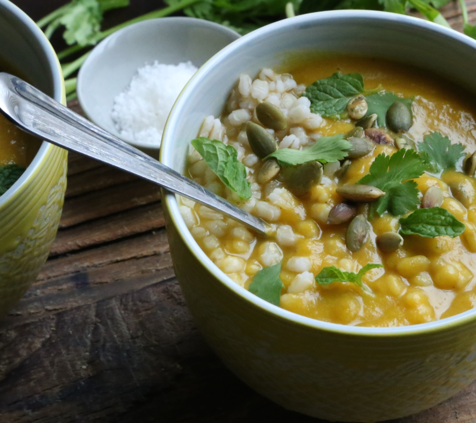 Curried Carrot and Apple Soup with Barley