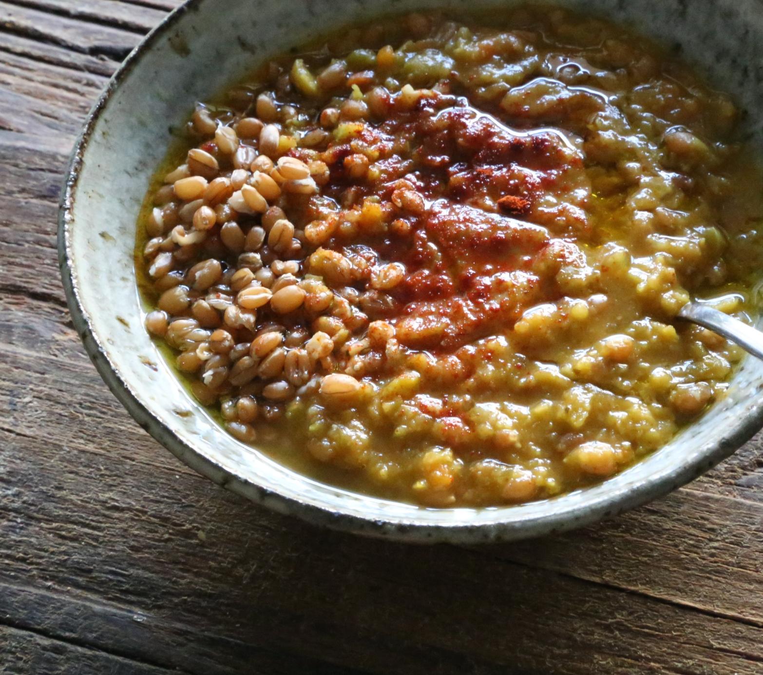 Split Pea Soup with spelt berries