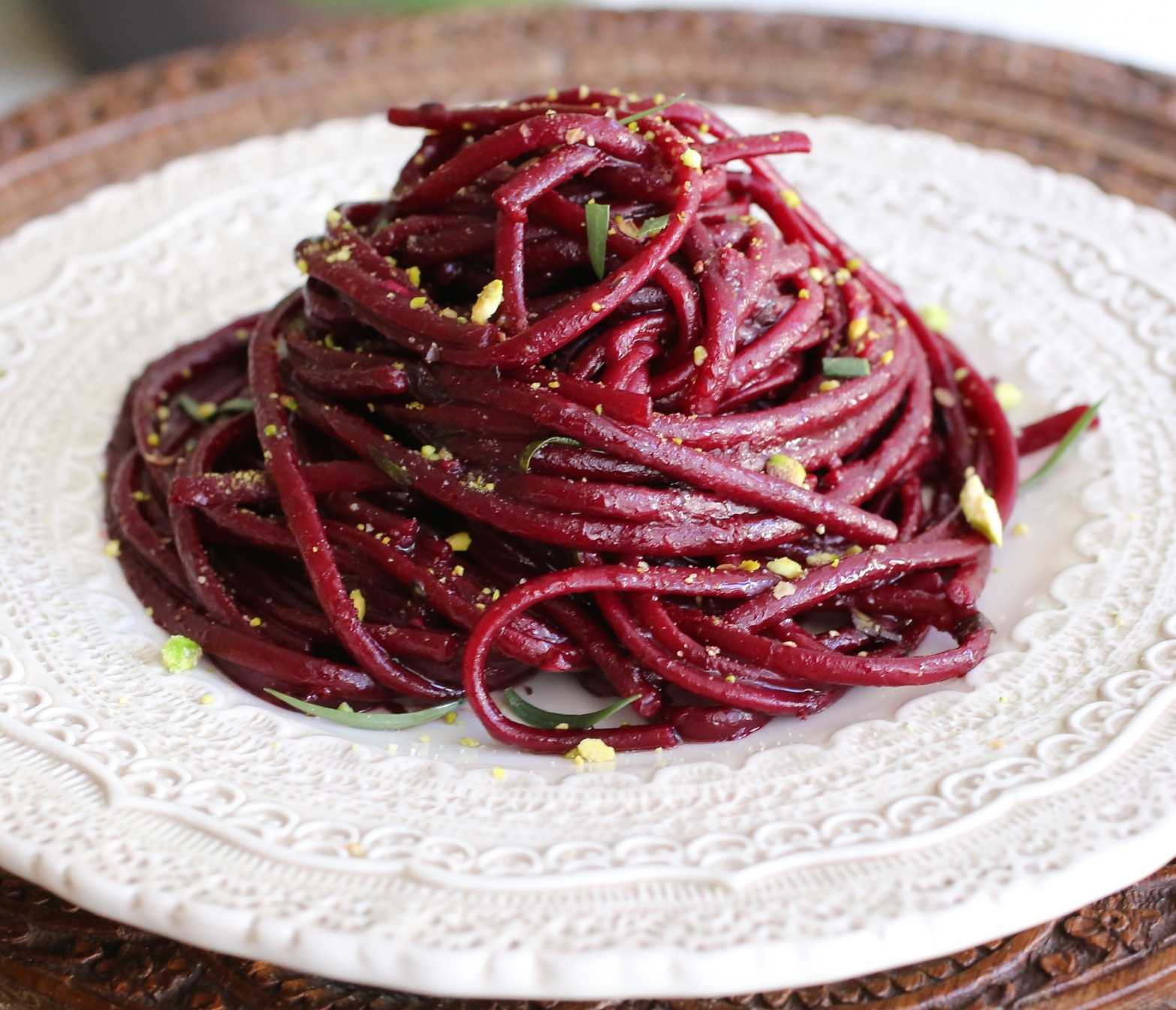 Beet Linguine with Orange-Tarragon Vinaigrette