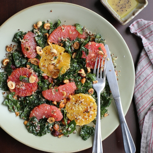 Kale and Grapefruit Salad with Quinoa and Hazelnuts