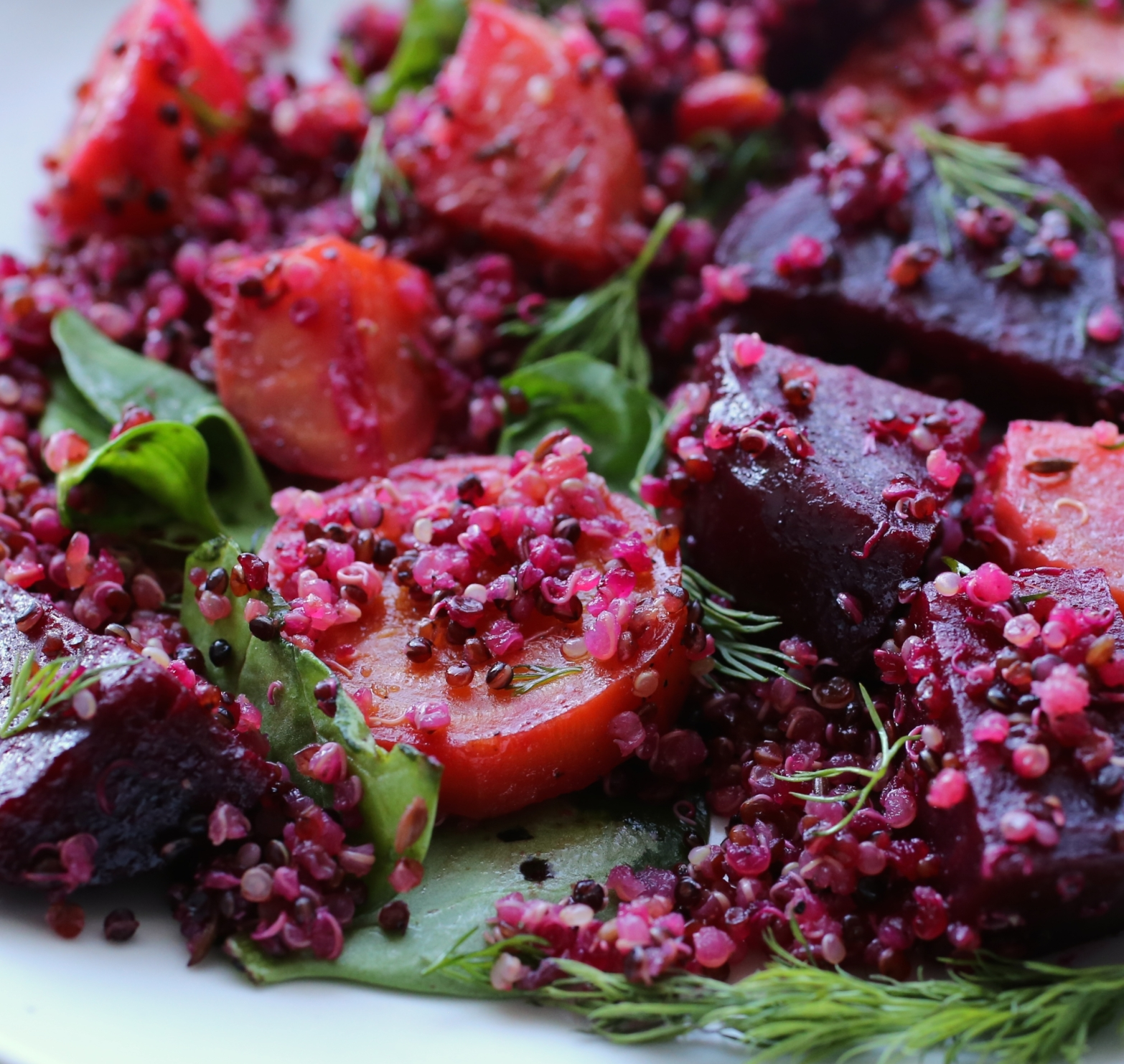 Quinoa with Roasted Red and Golden Beets