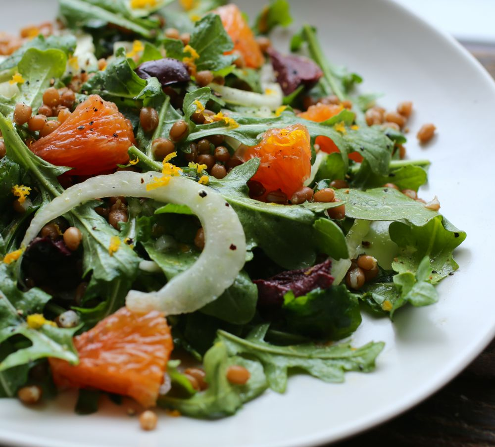 Orange, Arugula, Fennel, and Wheat Berry Salad | PETIT WORLD CITIZEN