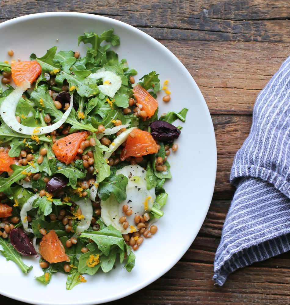 Orange, Fennel, Arugula, and Wheat Berry Salad