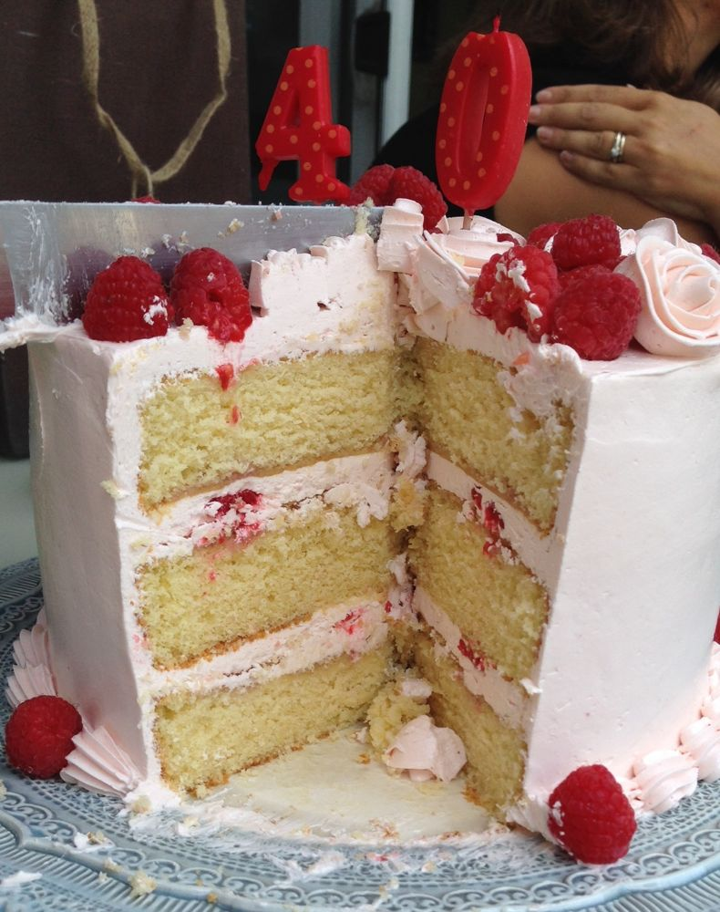 Yellow Cake with Raspberry Buttercream