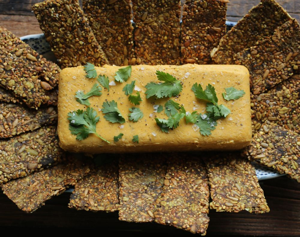 Red Lentil Terrine with Cumin and Turmeric Crackers