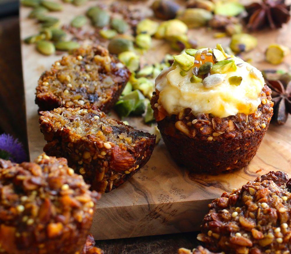 Apricot-Date Seeduction Mini Muffins