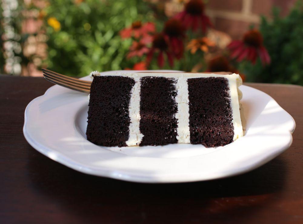 Double Chocolate Cake with Lemon Italian Meringue Buttercream