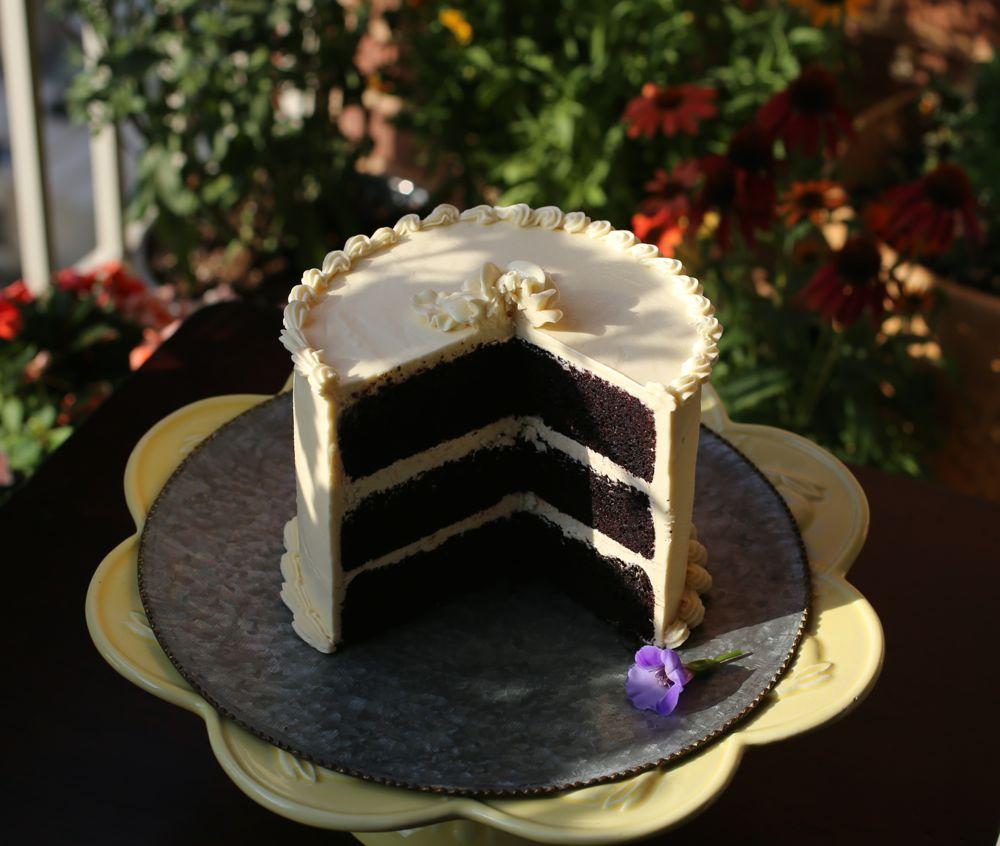 Double Chocolate Cake With Lemon Italian Meringue Buttercream Petit World Citizen