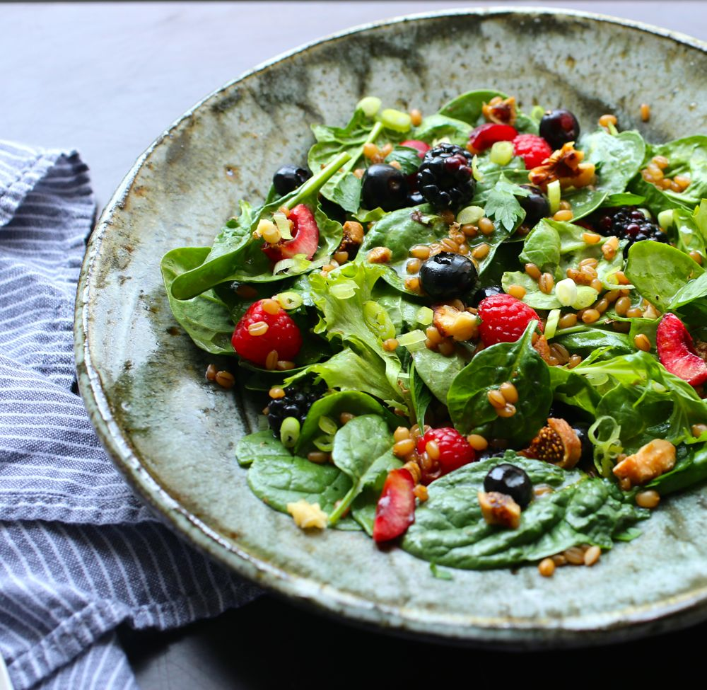 Spinach and Wheat Berry Salad with Miso-Gomashio Vinaigrette