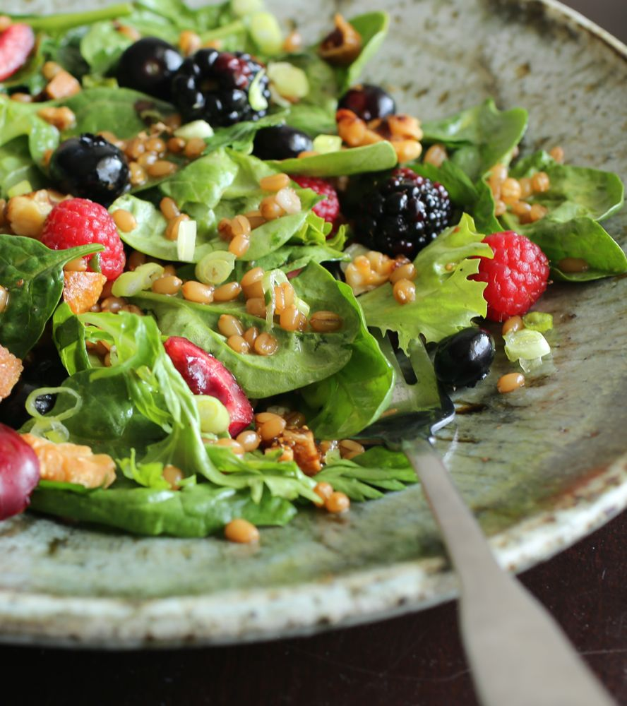 Spinach and Wheatberry Salad with Miso-Gomashio Vinaigrette
