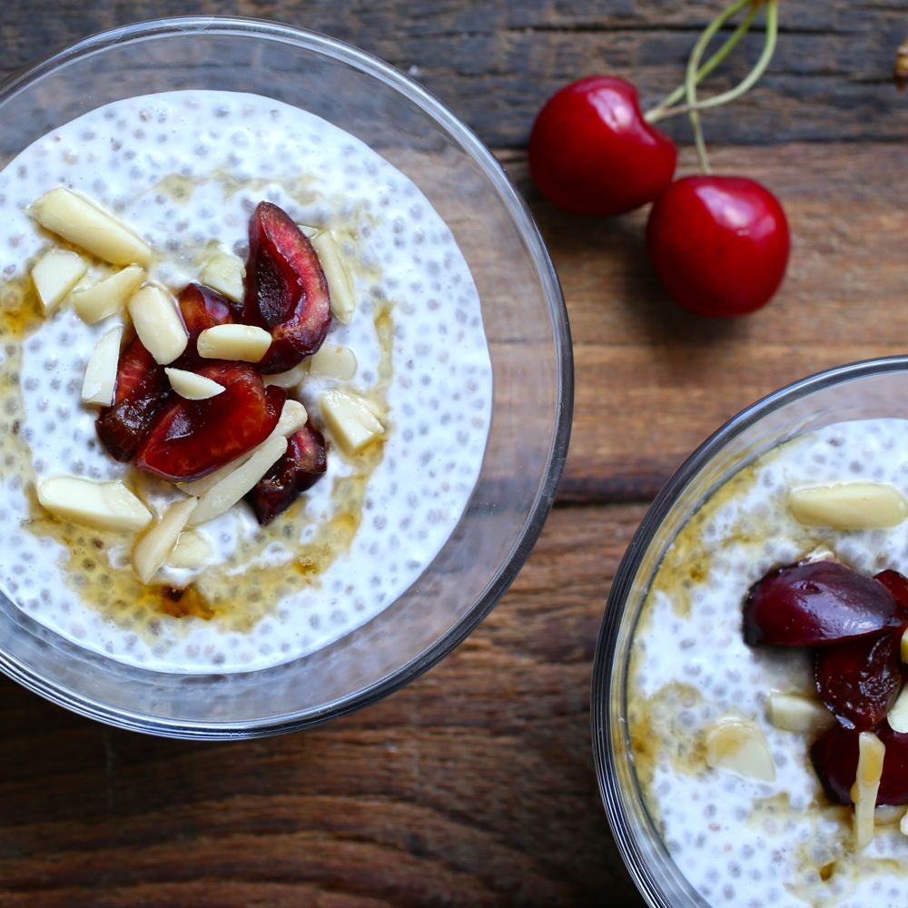 Coconut Cherry-Almond Chia Pudding