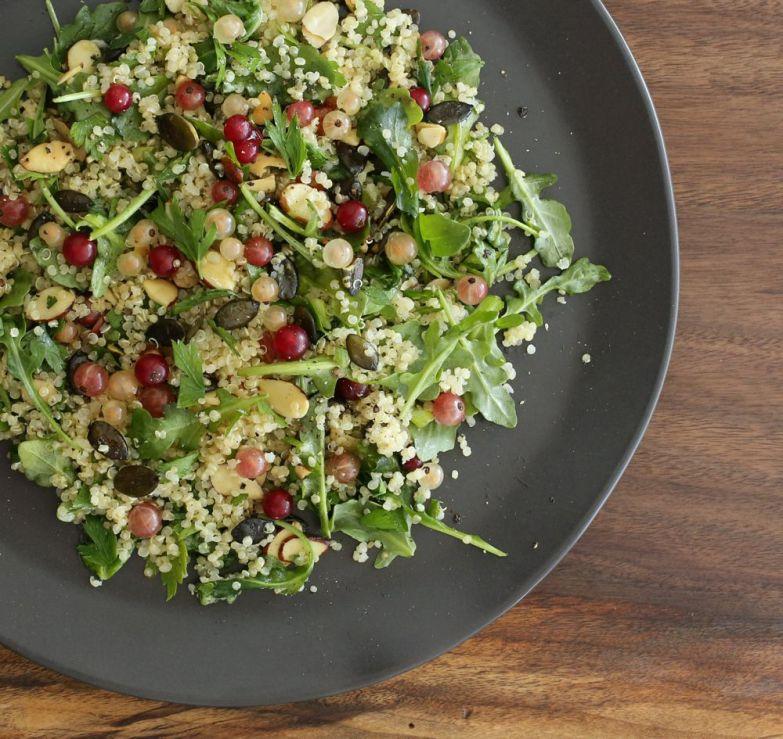 Quinoa Salad with Austrian Pumpkin Seeds and Fresh Currants