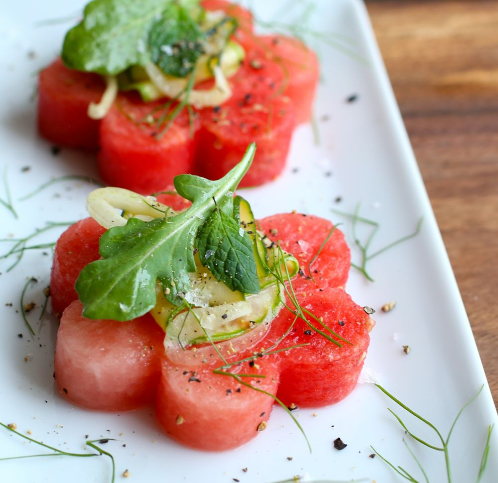 Watermelon Salad With Courgette And Fennel