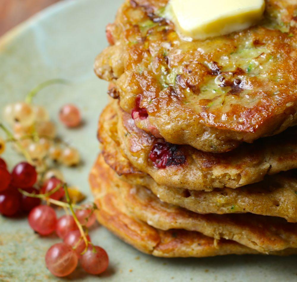 Zucchini-Currant Cornmeal Pancakes