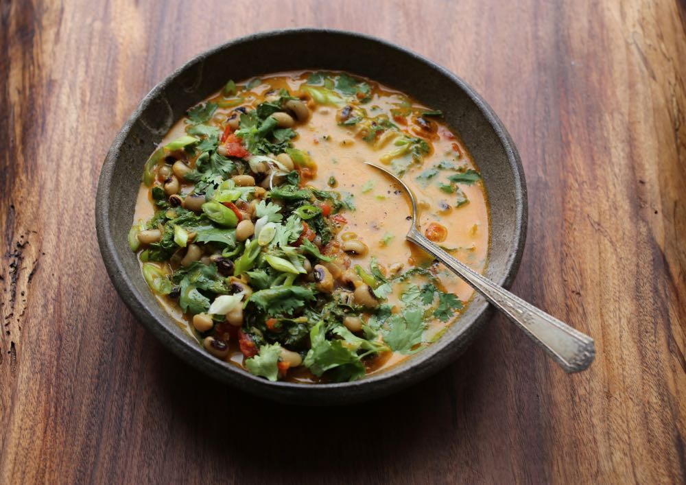 Spicy Black-Eyed Peas with Greens