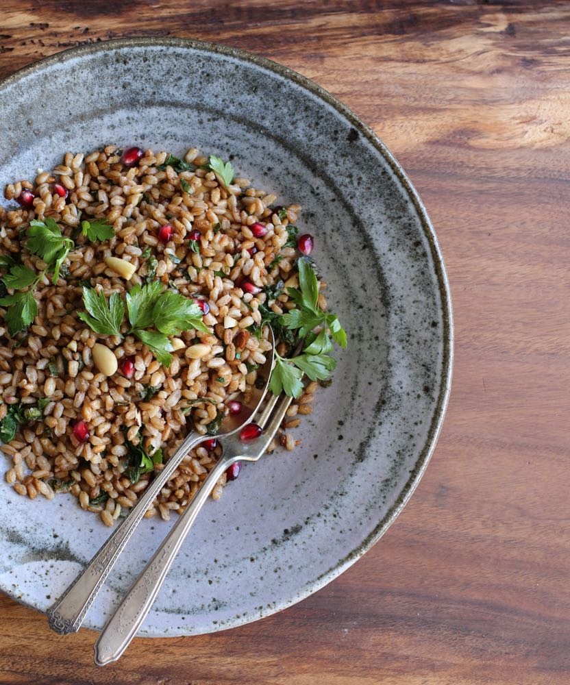 Toasted Farro with Greens