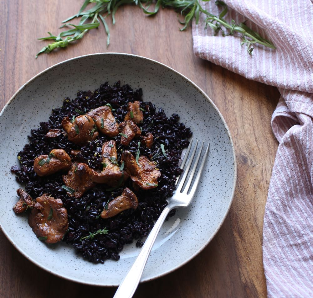 Chanterelles with Black Rice
